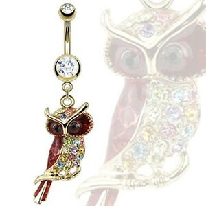 Multicolor Gemmed Owl Navel Belly Button Ring Surgical Steel
