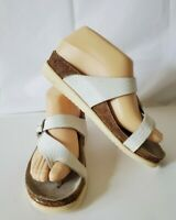MEPHISTO MOBILS AIR-RELAX WOMENS NUBUCK WEDGE SANDALS SIZE 37 white shoes thong