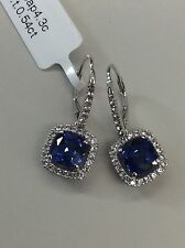 14kt White Gold Lab-Created Sapphire/White Topaz Drop Earrings