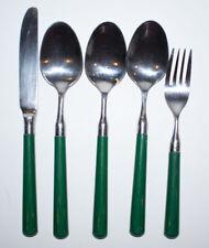 5 Vintage Stanley Roberts Spectrum Green Flatware Pieces Fork Knife Spoon