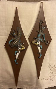 Pair of Vintage Harlequin Jester Wall Hangings Plaques Decor Accordion Maracas