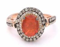 LeVian Ring Fire Opal Chocolate Diamonds RING 1.46 ct 14K Rose Gold NEW  Size 7