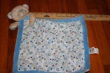 HTF BABY GANZ BLUE TAN BEAR Security blanket Polka Dots Circles Spots Brown