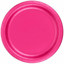 "24 Plates 6 7/8"" Paper Dessert Plates Wax Coated - Hot Pink"