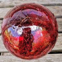 Frostsicher Glas Kugel Glaskugel 12cm Lightball Rot antik Bauernsilber Glas
