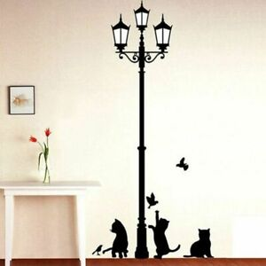 Creative Popular Ancient Lamp Cats And Birds Wall Sticker Home Kids Room Decor
