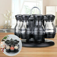8 Jars Rotating Spice Rack Carousel Kitchen Storage Herb Seasoning Bottle