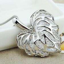 925 Sterling Silver Plated Heart Pendant Long Necklace Chain Jewelry