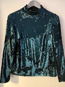 Miss Selfridge Sequin Top High Neck Long Sleeve Teal Green . UK10. New