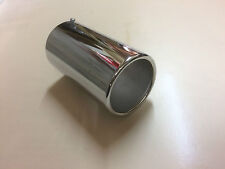 CHROME EXHAUST TIP Round Rolled pointe en acier inoxydable 50 mm - 80 mm Vis Sur Raccord