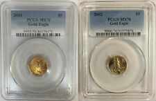 2001 & 2002 $5 GOLD EAGLE PCGS MS70 2 COIN SET LOW POP 83 & 100