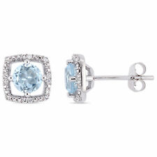 Amour 10KW Blue Topaz and Diamond Accent Stud Earrings