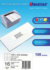 LABEL UNISTAT  AVERY 99.1x34MM 16/SHEET WITH MARGIN BOX 100