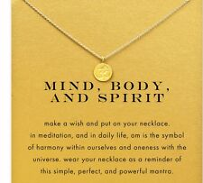 Om symbol Gold Meditation Min Body and Spirit Necklace Peace Yoga Buddha Religio