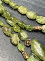 Bohemian Peridot Natural Stone Pretty Beaded Ling Beaded Style Necklace  24""