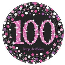 8 x rose Célébration âge 100 Assiettes en papier rose & Noir 100th Anniversaire