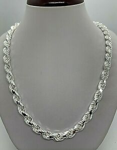 """925 Solid Sterling Silver Handmade Rope Chain/Necklace Men's 7mm 20""""-30"""""""