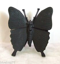 Vintage Mod-Dep Brev N4240 Brass Butterfly Trinket Box Ashtray Painted Black