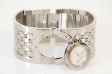 Gucci Twirl silver mother of pearl stainless steel cuff quartz ladies watch $945