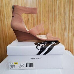 Nine West RiskTaker Tan Leather Wedge Sandal Shoe Ankle Strap High Heel 9.5M NIB