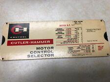 1962 Cutler Hammer Motor Control Selector Slide Rule - Perrygraf