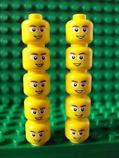 Lego ~ Lot Of 10 Minifig Heads w/Brown Eyebrows Wire Glasses Smile White Eyes