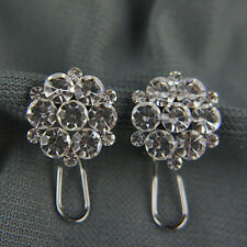 18k white Gold GF brilliant shiny cluster earrings with Swarovski crystals