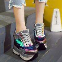 Women Shoes Glitter Hidden Wedge Casual High Heels Sneakers Platform Lace Up New