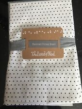 The Land of Nod Bassinet Fitted Sheet White With Black Dots Brand New