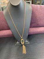 "Vintage Pretty  Mirror Tassel Pendant Necklace Heavy Gold Tine Chain 28"""
