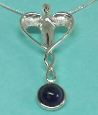 Sterling Silver and Amethyst Healing Angel Pendant Amethyst Angel Necklace