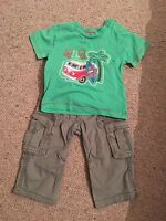 Boys Cargo Trouser And T Shirt Set Age 6-9 Months