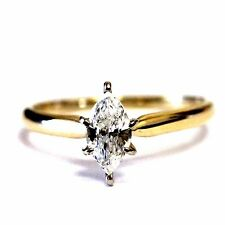 14k yellow gold .52ct I1 J marquise diamond engagement ring 2.1g estate vintage