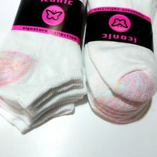 Womens Ankle Socks - White Pink Heel and Toe - 12 Pair - MADE IN USA