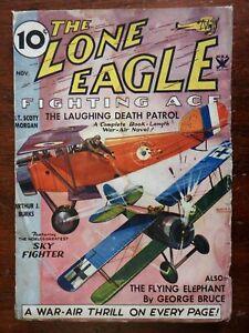 Aviation Lone Eagle pulp Magazine 1934 Air Combat Adventure Airplanes Military