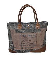 Sunsa Vintage Shopper Canvastasche groß schwarz/braun Recycling Canvas 50x35 cm