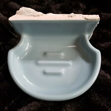 Vintage Gloss Cornflower Blue Ceramic Wall Mount Soap Dish American Olean