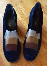Morgan Paris vintage 90s black stripes front chunky heel suede shoes 39 8 8 1/2