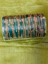 Indian Desi Pakistani Plastic Bangles Glitter Set Green Golden Gold