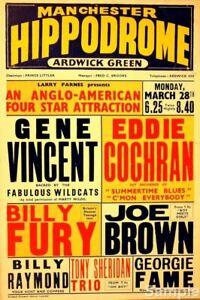 Vintage Gene Vincent, Eddie Cochran, Manchester Music Concert Poster Print