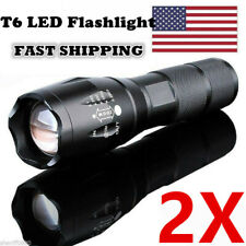 2 Pack Camping Emergency Tactical Flashlight Super Bright LED 5 Modes Torch Lamp