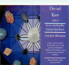 "I SEE AND KNOW Grid Card 4x6"" Heavy Cardstock For Use with Healing Crystals"