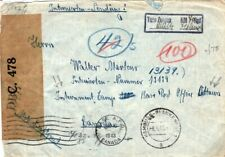 GERMANY WW2 Cover Hamburg Censor CANADA Ottawa INTERNMENT CAMP 1943 FC19
