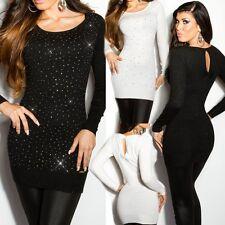 Sexy Miss Damen Long Pulli Strick Glamour Lurex Strass Steine Pullover 34/36/38