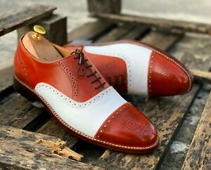Bespoke Handmade Tan & White Color Leather Cap Toe Brogue Shoes For Men