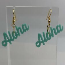 Large Aloha Turquoise Plastic Lightweight Earrings 4.5 Cm Long I022 Summer Fun