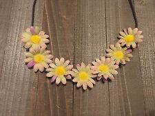 Handmade Purple Green Daisy Flower Crown Halo String Headband Country Chic Boho
