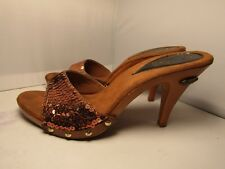 Vintage Candies 1980's Style Sandals High Heels Slides Sexy Copper Sequin Sz 9