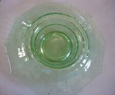 """VINTAGE GREEN DEPRESSION GLASS CENTERPIECE CONSOLE BOWL W ETCHING 15"""""""