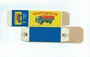 Matchbox Lesney 1e Mercedes Truck Lorry Type E4 EMPTY ORIGINAL BOX ONLY